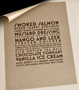 Bespoke menu design and typography designed place cards